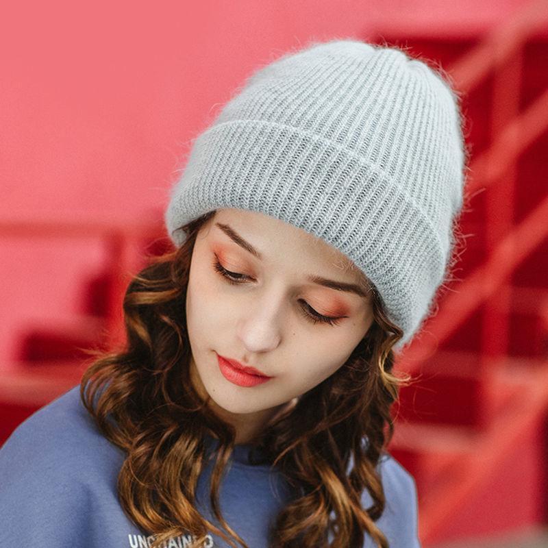 New Fur Beanie Hat for Women Autumn Winter Skullies Warm Cap Ladies Angora Wool Hat Female Cashmere Knitted Beanie Hats