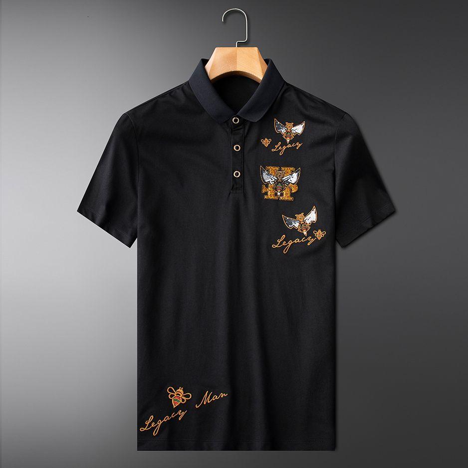 Luxusbiene besticktes Hemd Polo männliche dünne Revers Smart Pailletten Gold Poloshirt S90e