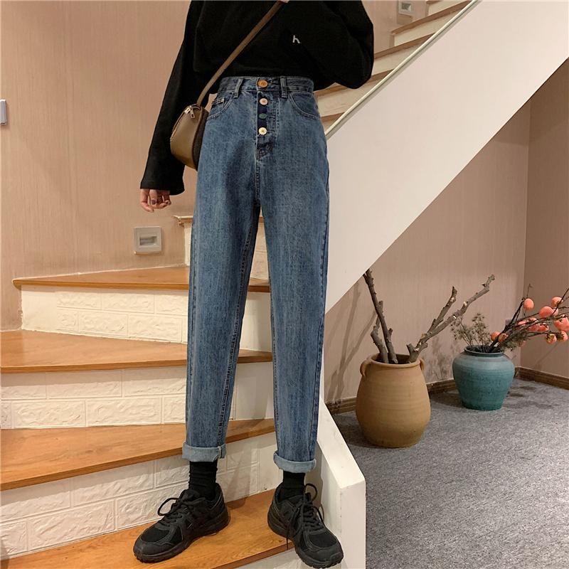 Women Harem Jeans Pants Autumn Winter 2020 New Fashion High Waist Loose Denim Jeans Casual Female Streetwear Trousers Plus Size