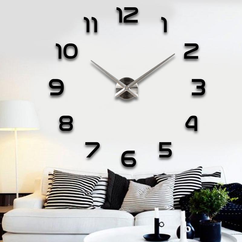 pointeur Silver nouvelles horloges d'horloge murale vente Reloj de montre Pared 3d miroir acrylique diy Autocollants Quartz moderne Décoration