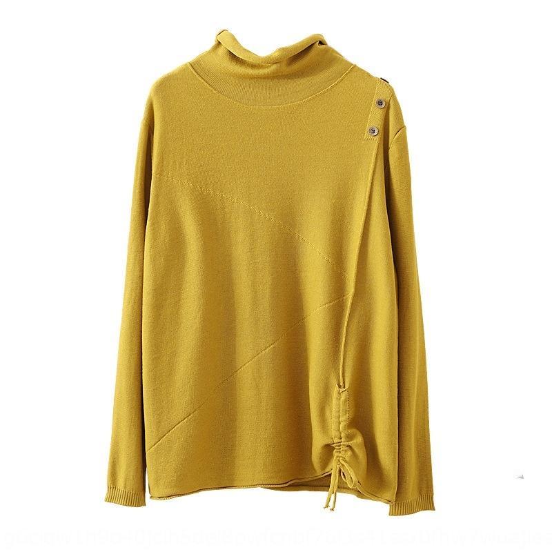 estilo artístico meia gola alta Outono nova manga longa capuz mulheres do estilo camisola de manga curta Pullover solto com camisola camada inferior