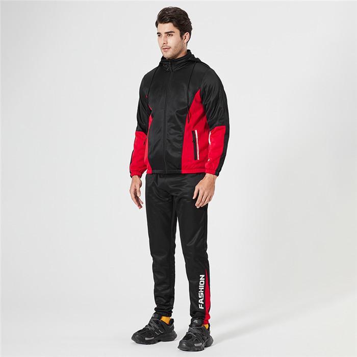 Stehkragen Anzug Herren Designer Langarm mit Kapuze Mäntel und Sweatpant Herbst beiläufige Patchwork-Mann-Sport 2pcs Outfit Sets