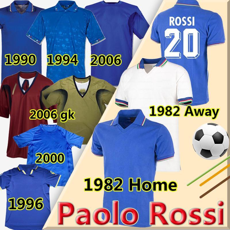 Maglia Paolo Rossi Retro Soccer Jerseys 1982 ITA Klassizly Vintage World Cup 1986 90 94 96 98 2000 2006 R.Baggio Totti Pirlo Football Hemden