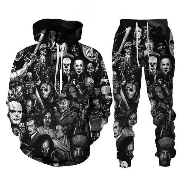 Mode Horror Movie Clown 3D All over Print Tracksuits Männer / Frauen Halloween Hoodie + Joggers Hosenanzug