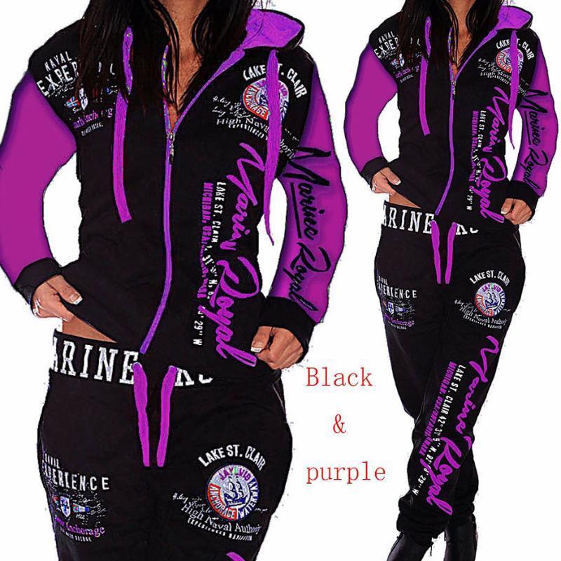 ZOGAA 2020 Kadınlar 2 adet Sportwear Sonbahar Kış Kadın Takım Elbise Moda Kapüşonlu Joggers kadın Spor Suit Setleri Bayan Eşofman Seti