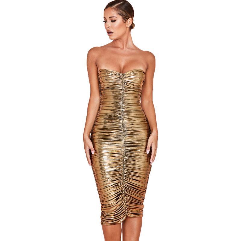 여성 PU 가죽 골드 셔링 밴듀 드레스 빛나는 오프 숄더 끈이 Bodycon 붕대 드레스 금속 미디 파티 클럽