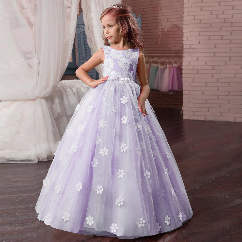 Elegante malla floral Año Nuevo Fiesta de la princesa niños del vestido de boda del vestido del Bowknot de los niños vestidos para niñas fiesta de cumpleaños vestido de las muchachas del vestido