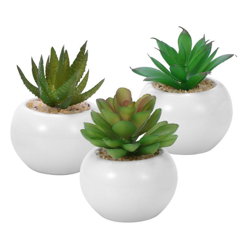 3pcs Mini decorativo Faux Succulente artificiale succulente Falso Simulazione Piante con Bianco Vasi