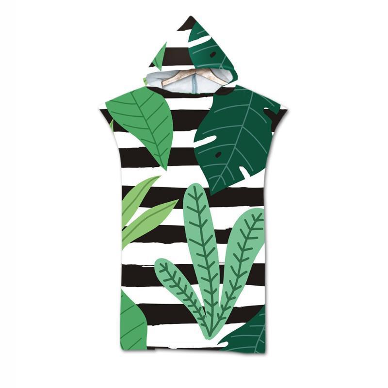 Новая быстрая сушка Изменение халата Пляжное полотенце тропические растения узор с капюшоном полотенце пончо халат полотенца взрослый спортивный плащ