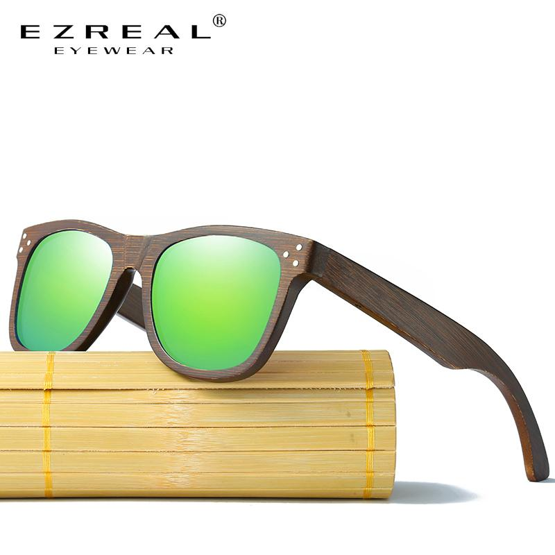 Ezreal Echt polarisierte UV400 Bamboo Sonnenbrille Marke Holz Sun-Gläser mit Holzkoffer