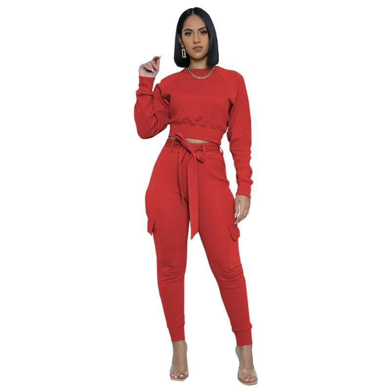 Femmes Sweater Bandage Crop top de culture O-Cou + Pantalon long avec Sportsuit Pocket Tracksuit Femmes Jogging Femme Tenues