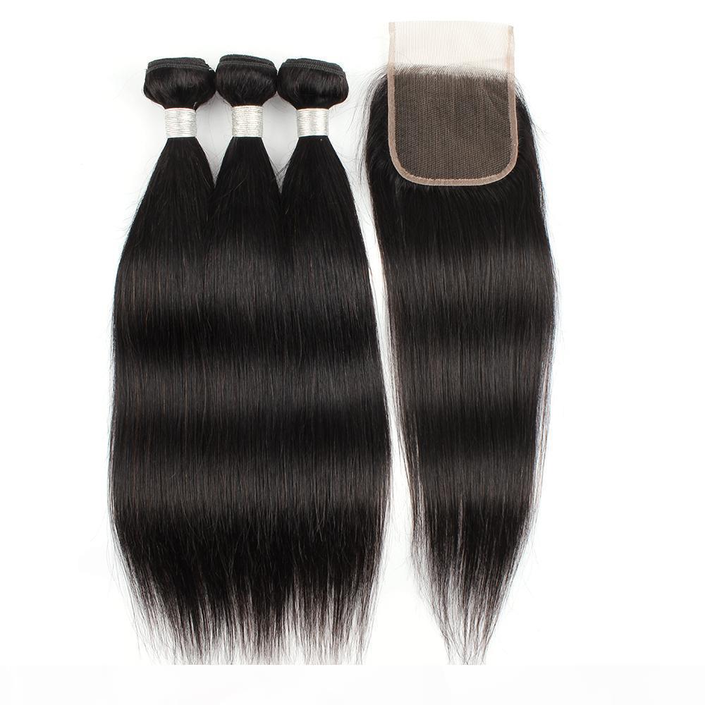 Kisshair Natürliche Farbe Gerade 3 Bündel mit Schließung 100% Human Hair Bündel Brasilianisches indisches Reines Haar Schuss