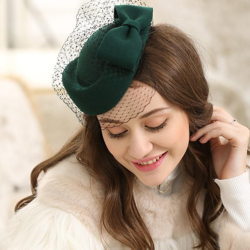 STINGY BRIM HATS QPALCR Элегантная шерсть войлочная шляпа женская сетка Pillbox Lady Wedding Party Fedora красный зеленый старинный береты коктейль