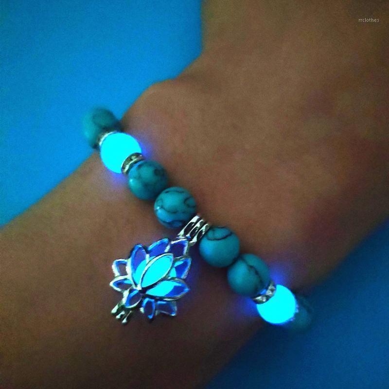 Bracelet en pierre naturelle Yoga Guérance lumineuse de guérison dans le bracelet foncé Lotus Charm perles pour hommes femmes femmes prière Bouddhism1