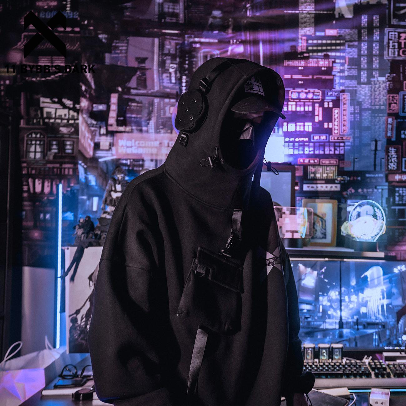 11 BYBB OSCURO reflectante Harajuku con capucha de los hombres de Hip Hop de Calle con capucha hombre astronauta paño grueso y suave de algodón Tops Suéteres Y1109