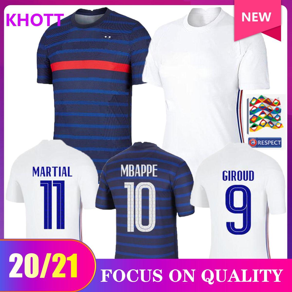20 21 Griezmann Mbappe 2 stelle French Soccer Jersey Pogba Kante Demblee Varane Matuidi Francia Camicie da calcio Uomo Kit Maillot de Piede