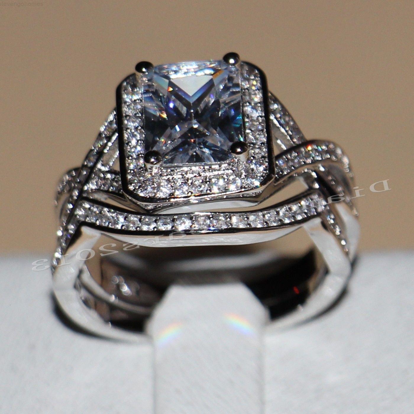 Rempli 4CT Blanc Nouveau Populaire Bijoux en or 10kt Topaz Simulé Diamond Princess Anneaux de fiançailles de mariage Set pour les femmes S
