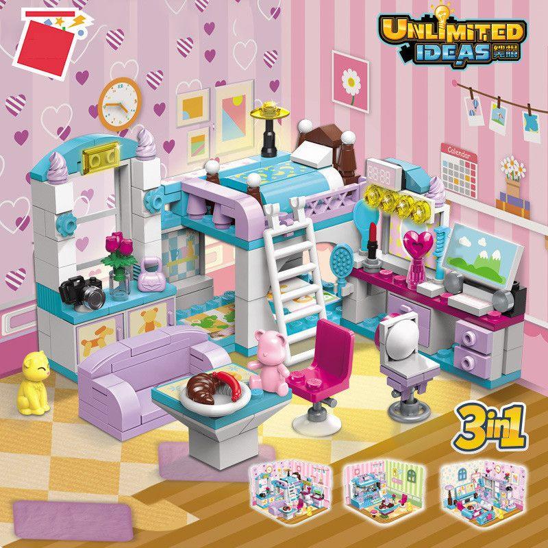 194pcs Amis Bâtiment Blocs Ensembles Château House Chambre à coucher Cuisine 3 en 1 déformée Bricks Brinquedos Jouets éducatifs pour filles C0119