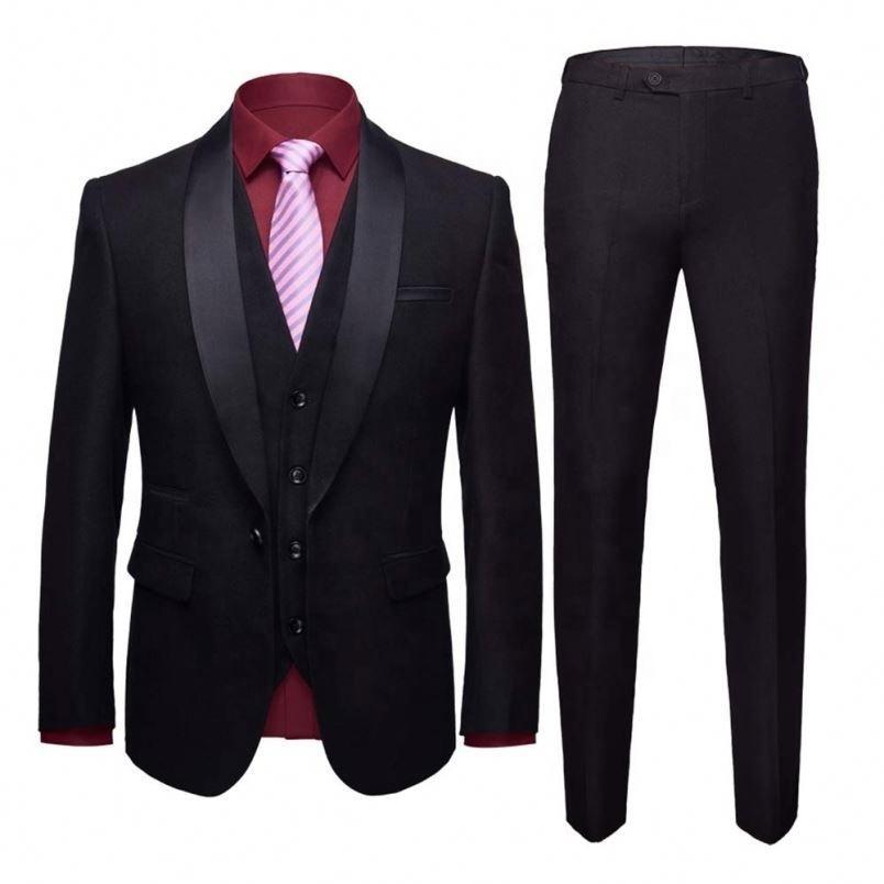 Herren-Schal-Revers-3-Stück Slim Fit One Button Kleid-Klage-Blazer-Jacken-Hosen Tux Weste