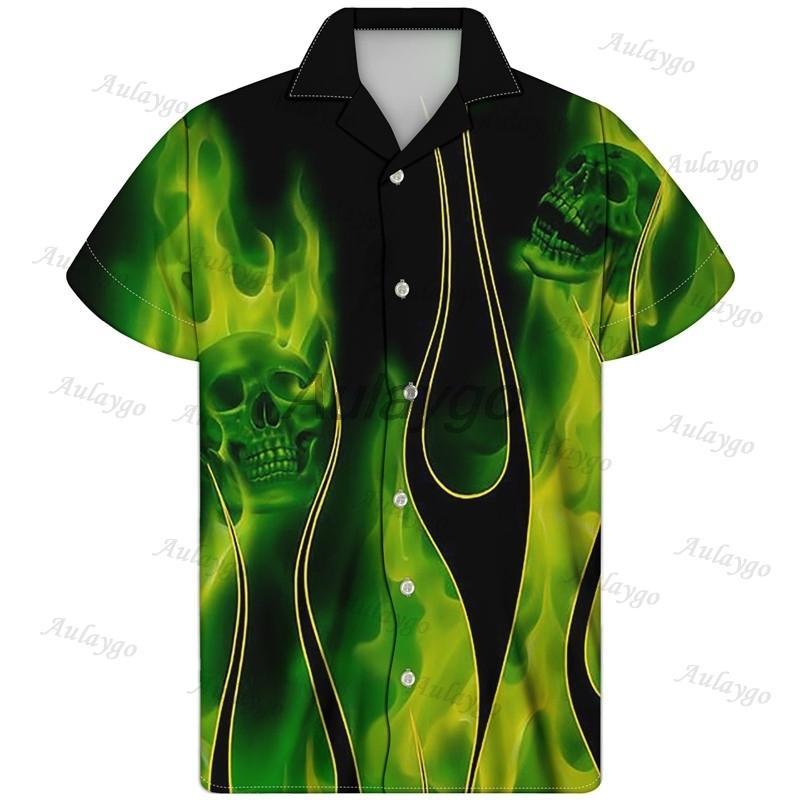 Aulaygo Button Up Shirt Fiamma cranio ha stampato manica corta uomo Turn-down Collar Oversize hawaiana Abbigliamento Camisa Masculina 1022