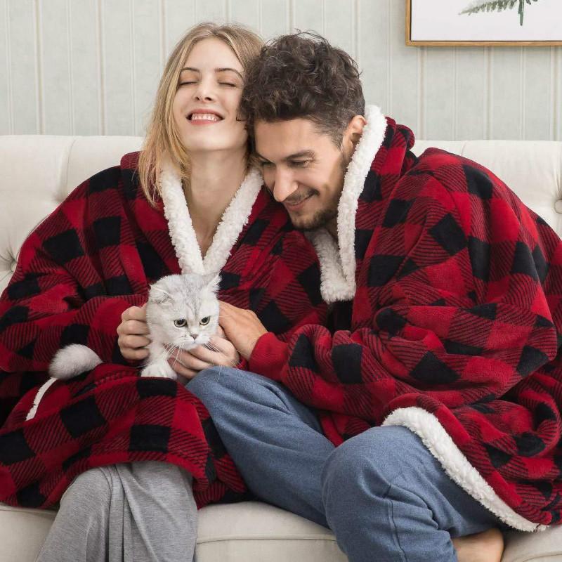Пара parkas крытый женщин зимняя одежда гигантское одеяло с рукавом негабаритный пальто пуловер женщина sudadera mujer