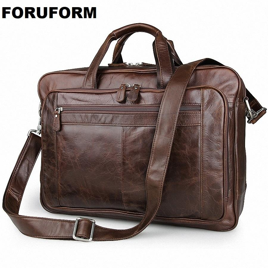Men's Classic Briefcase Genuine Leather Business Office 17 Inch Laptop Lawyer Handbag Portfolio Satchel Shoulder Bag LI-1266 Q0112