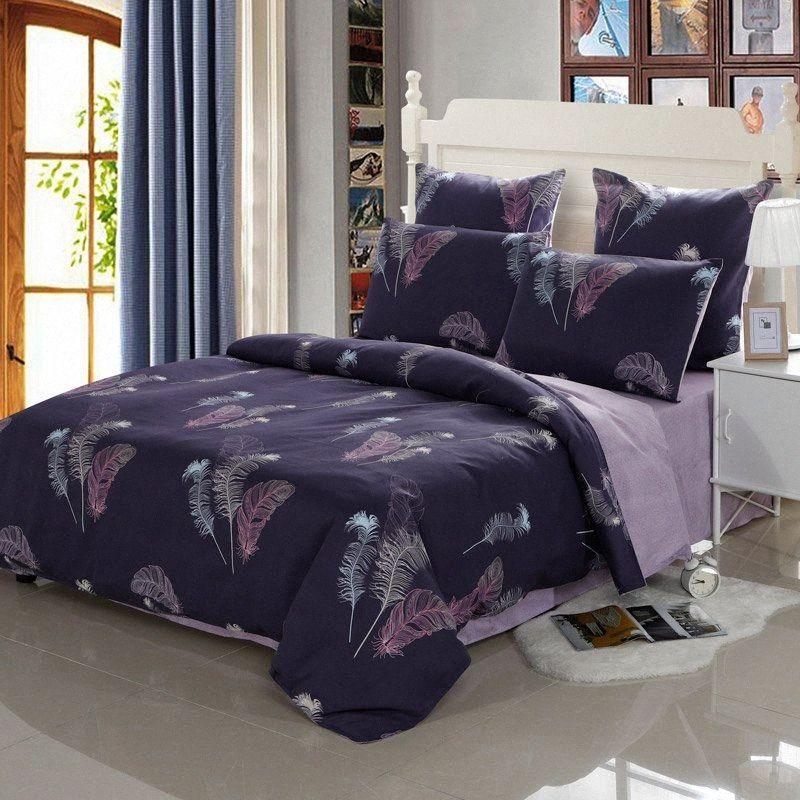 Patterns YAXINLAN Bedding Set Puro Cotone nottilucenti TwoColors piantare fiori Fiore lenzuolo Quilt Cover federa 4 Red Bedding K D9lo #