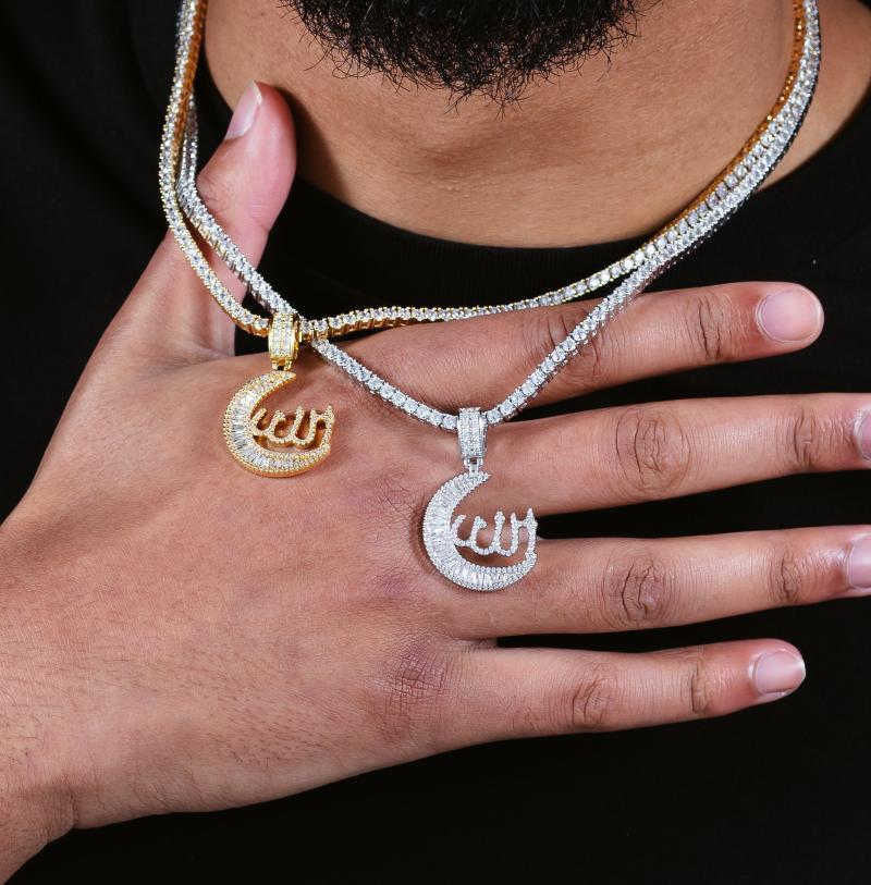 Cadenas al por mayor Musulmán DIOS COLLAJE DE LA MOUSTA 3MM Cadena de tenis con encanto Mosaico Zircon Colgante Joyería Mujeres Hombres Hip Hop Religión Regalos