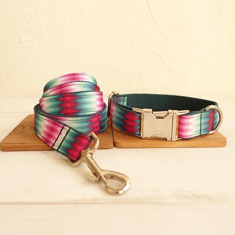 Collar de perro modificado para perros grabado Puppy ID de identificación de correa collar conjunto ajustable al aire libre impresión de la moda del animal doméstico leash pavo real verde