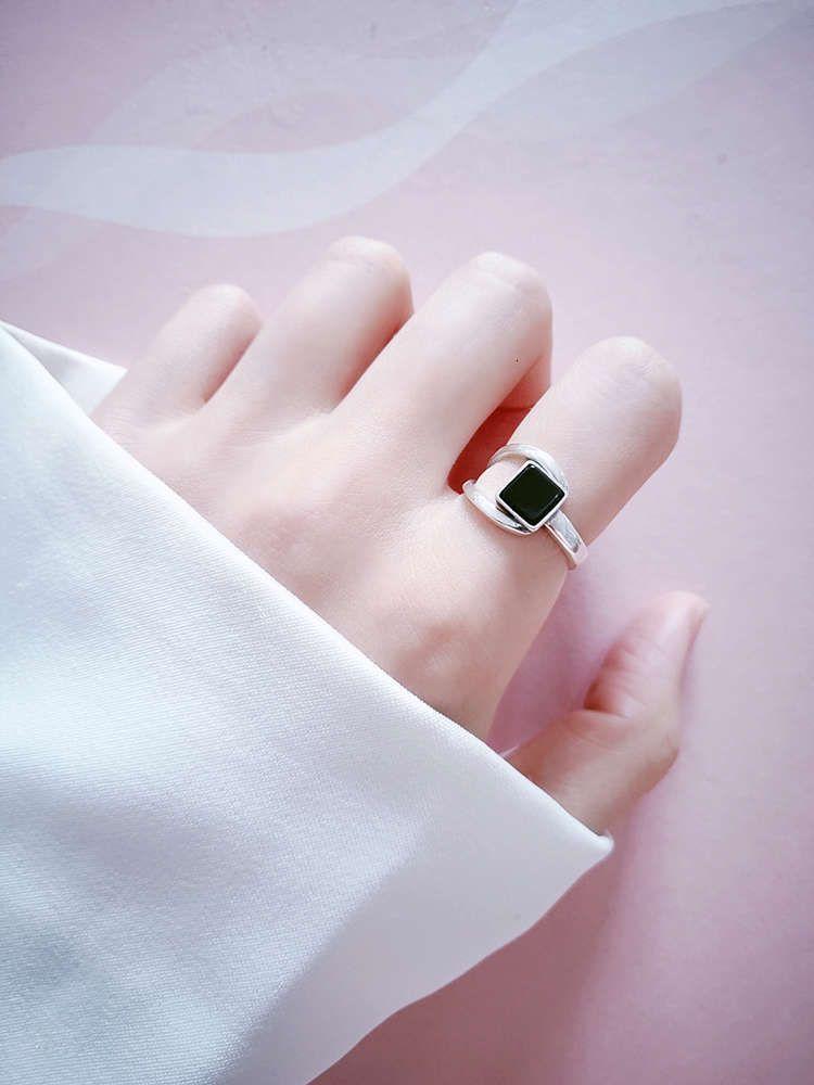925 Sterling Siers índice dedo Dedo Personalidad femenina Taiyin Anillo abierto Red Red Moda Negro Ágata Regalo Joyería