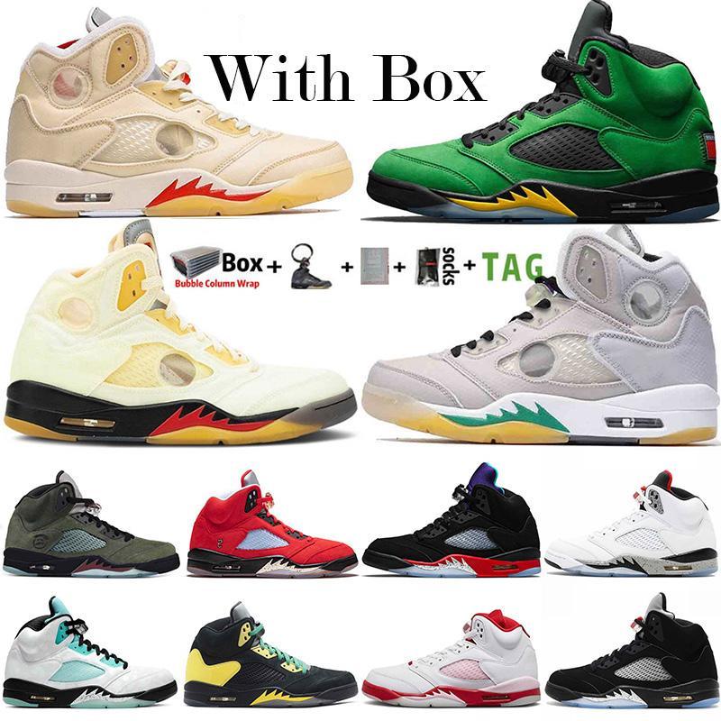 2020 Jumpman 5 5S Shoes de baloncesto para hombre Se Oregon Fire Red Top 3 Alternate Bel White Cemento UNC Black Cat Island Green 3s Trainers Sneakers
