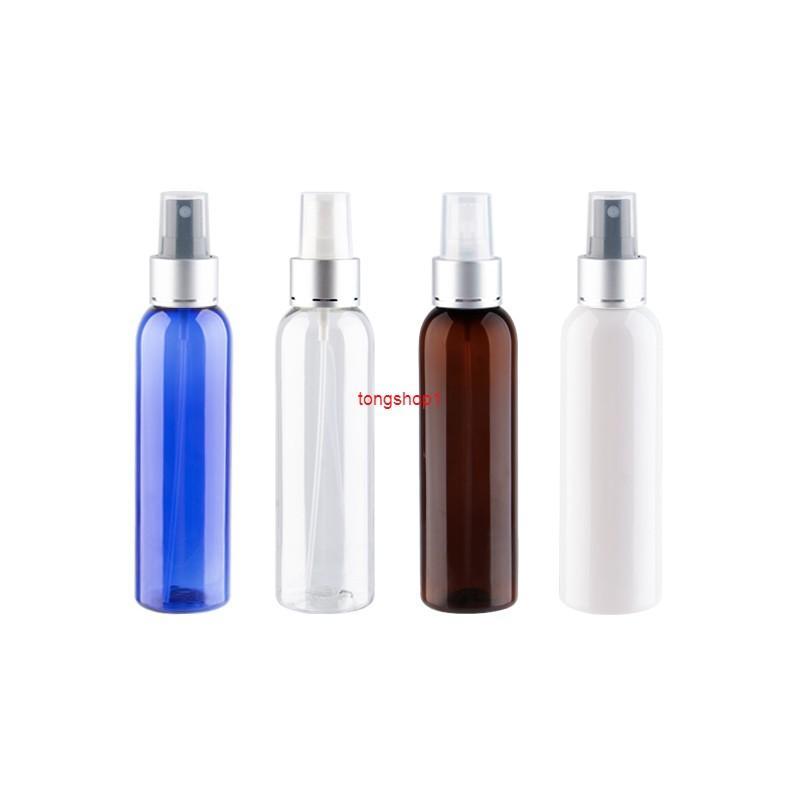 150 ml x 25 névoa recarregável Bomba de pulverização frasco de perfume com colar de alumínio prata de alta qualidade recipientes de plástico líquido medecinefree shippin