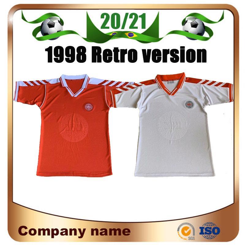 Klasik Dışarıda HEINTZE M.LAUDRUP NIELSEN FRANDSEN Futbol Üniforma 1998 Retro versiyonu Futbol Formalar 1998 Dünya Kupası ev bağbozumu Futbol Gömlek