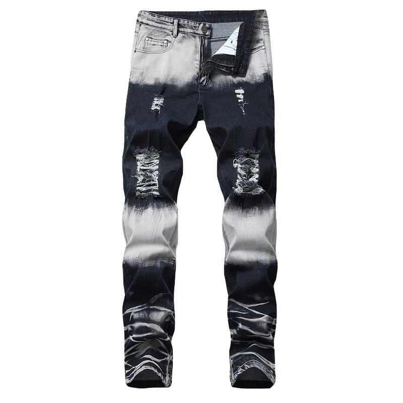 Новые Эластичных ноги молния украшение Прямой трубка джинсы Тонкий Wear Изношенного локомотив Брюки White Trend Мужской