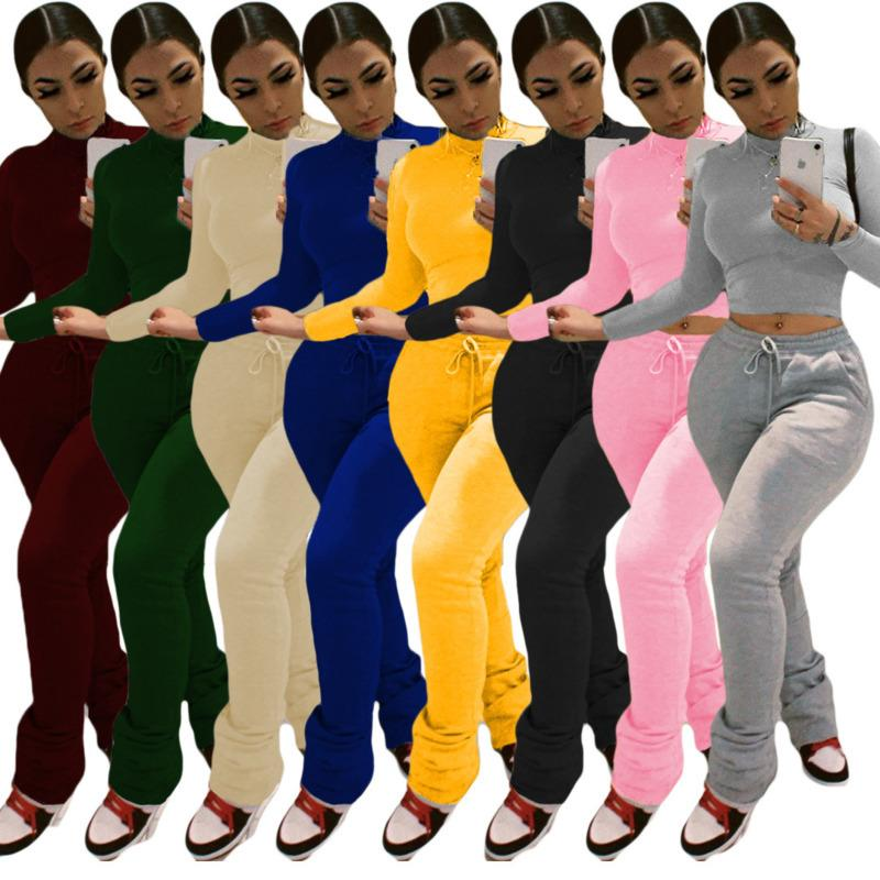 Women Tracksuits Two Pieces Set Slim Solid Colour High Waisted Top Long Sleeve Pants Ladies New Fahsion Wear Fall Winter Sportwear 2020