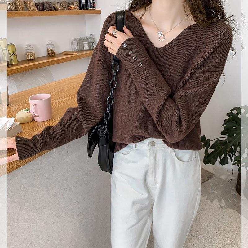 Женщины вязать свитер с длинным рукавом V-образным вырезом женские повседневные Твердые моды пуловеры женские зимние свитера