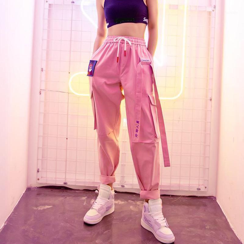 Harajuku хип-хоп женские грузовые брюки высокие талии корейские брюки ленты розовые брюки женские свободные пробежки спортивные штаны Pockets1
