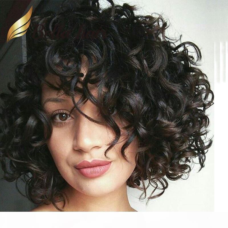 Big Curly Lace Front perruque vierge perruque de cheveux humains Couleur naturelle pour les femmes noires 130% 150% Densité Bella cheveux Livraison gratuite