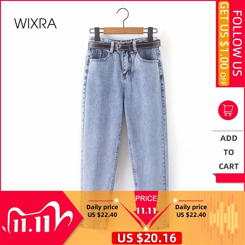 Wixra Womens Demin Calças com Caixilhos Streetwear casuais de alta cintura solta jeans Botões Pockets Femme Primavera Outono C1111