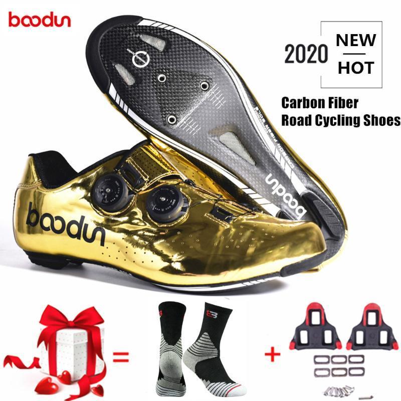 Beoodun New Tyrant Gold Road Велоспорт Обувь Дорожные Велосипед Самоблокирующие Обувь Углеродные Волокна Улься Профессиональные Велосипедные Гонки