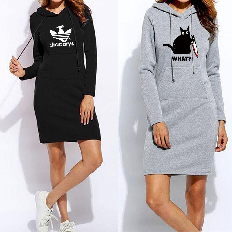 Robe drôle print hoodies hiver vêtements manches femmes sweats pulls à capuche femme vestidios cordon de cuve de poche pull robe de poche fjqtu