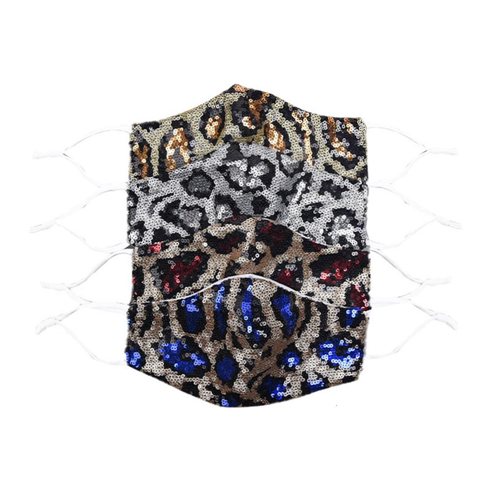 Moda bling bling leopard lentejuelas cara mascarilla a prueba de polvo mascarillas de la boca Diseñador lavable reutilizable mujeres cara mascarilla
