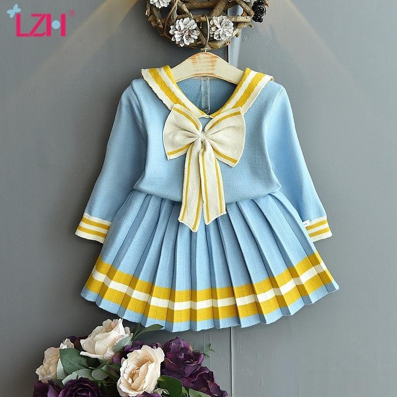 ЛЖ новая осень зима вязание набор для девочек одежда комплекты малышей девушки юбки 2 шт. Костюм детская одежда 2 3 4 5 6 лет 201126