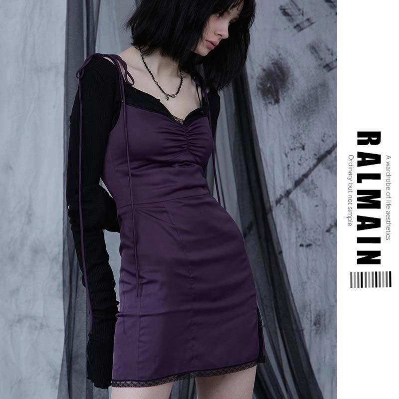 Women Streetwear Fashion Black Lace UP Girl Mini Casual Purple Dress Female Trend Sexy Spaghetti Straps Bodycon Gothic Dresses Summer Hot