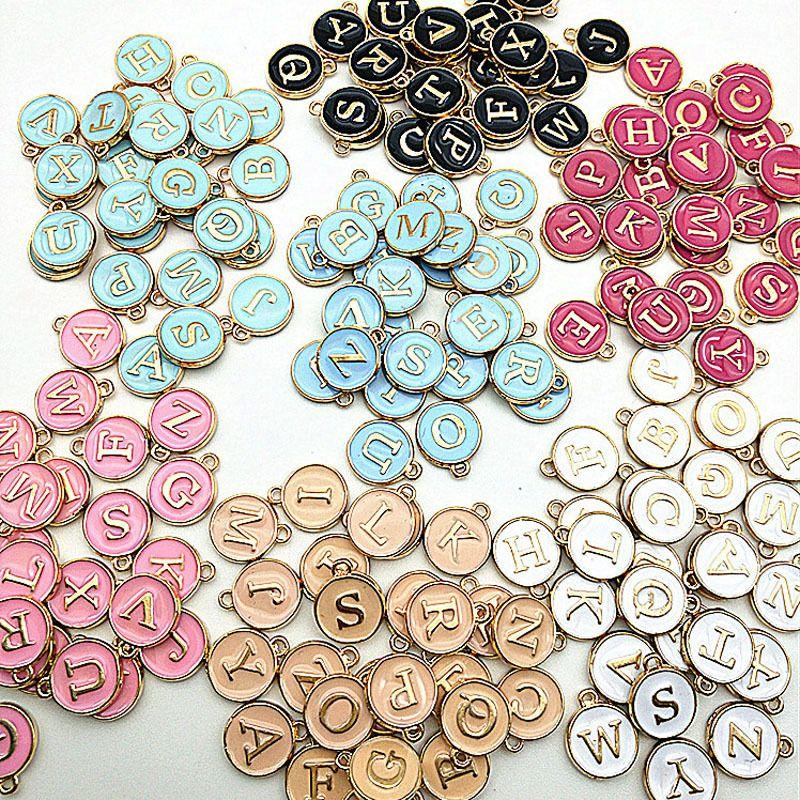 Bricolage à la main DIY Ornements Frottes Chaud Selling Double face Drop Huile Couleur Couleur Pendentifs 26 lettres Jeux de bijoux 0 36jm G2B