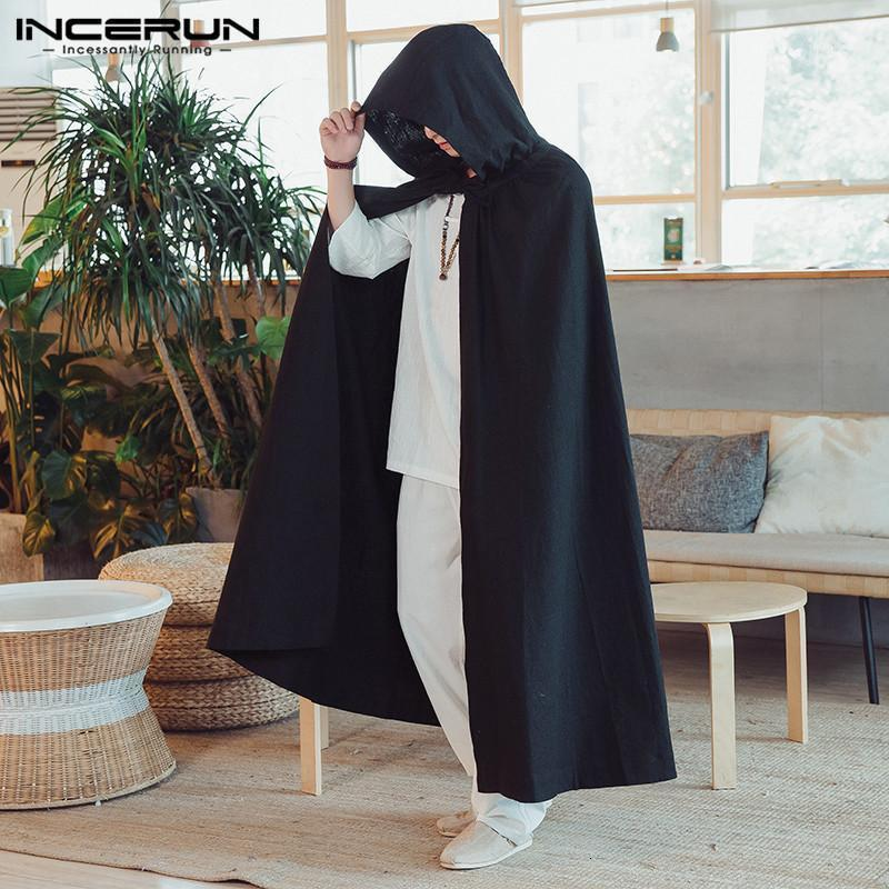 Incerun Mens Cloak Vintage Cape Cape Capuche Couleur Solide Coton Lâche Fashion Longue Break-vent Chinois Style Chinese Hommes Outerwear1