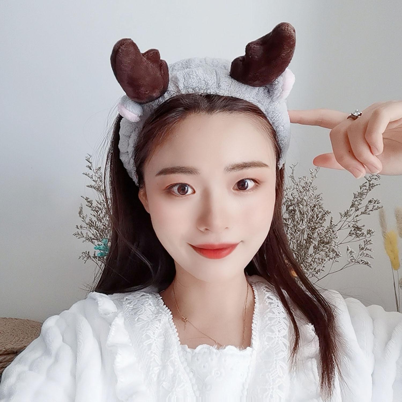 Мойте лентой для волос, женский сетевой красную прикладную маску, обруч против занос головы, маленький милый головной убор оленей, простые корейские головные уборы WBH1
