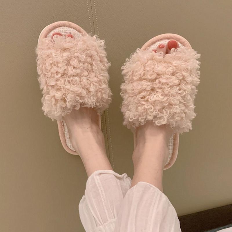 Rosa peludo Slides chinelos para Mulheres Faux Fur Lã chinelos Crianças do Pink House Mulher do inverno Quarto deslizador Shoes