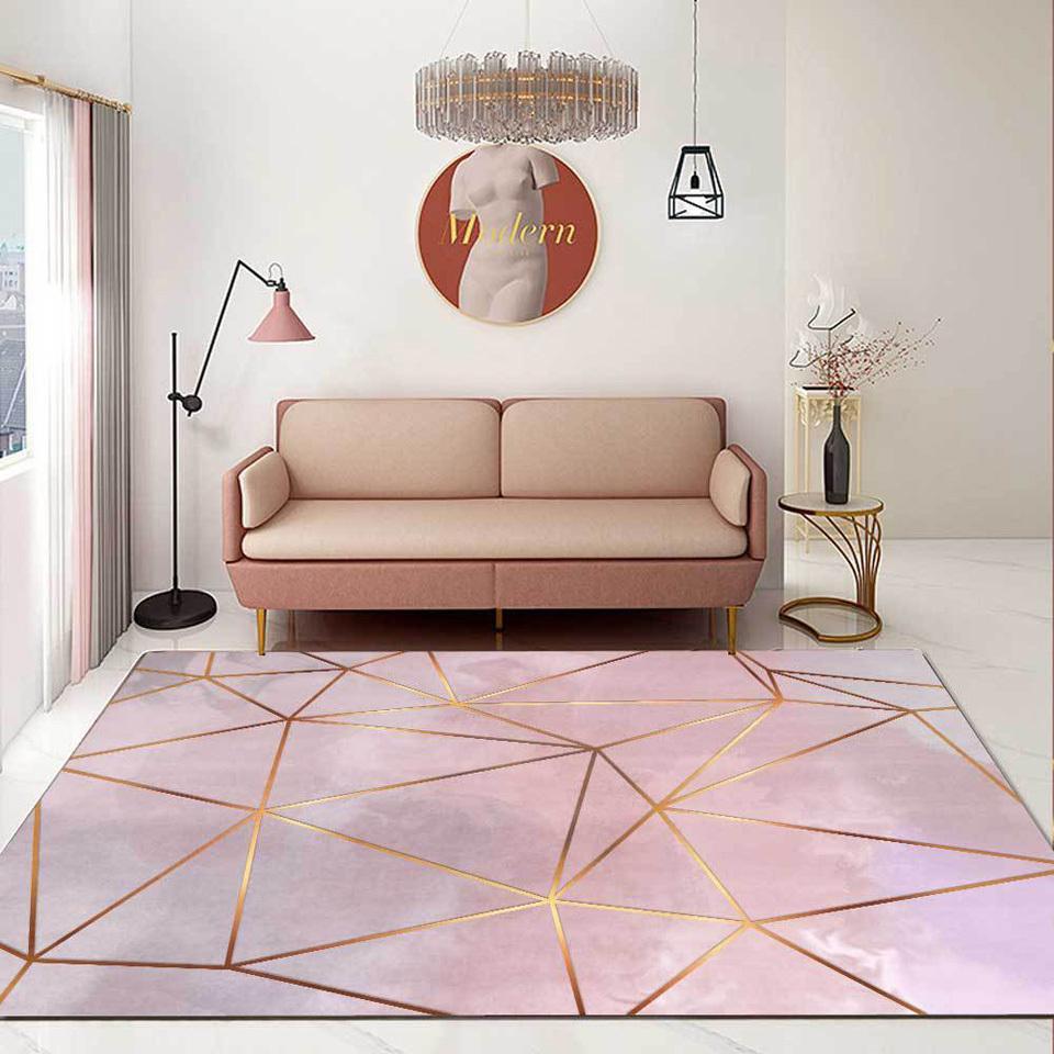 Moderne Nordic Grand Salon Tapis 3D Impression gris Rose Gold Line Geometry pour la cuisine Chambre à coucher Tapis Tapis Custom Maison Mat LJ201128