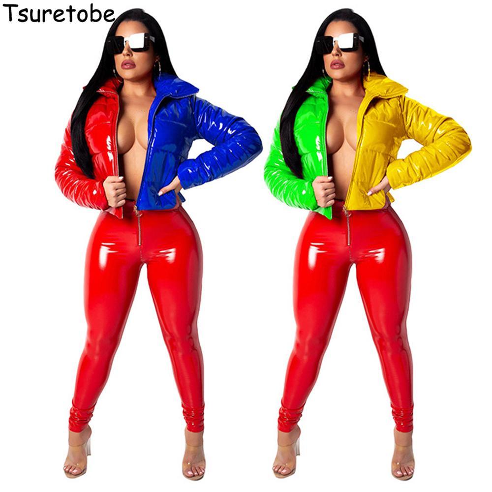 Tsuretobe Patchwork Puffer Ceket Kadınlar Pu Deri Mahsul Kabarcık Coat Kış Aşağı Ceket Down Kadınlar Parka Kadın Dış Giyim Mujer 201016